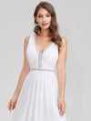 Women'S V-Neck Sleeveless Evening Maxi Dress-White 5