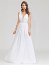Women'S V-Neck Sleeveless Evening Maxi Dress-White 1