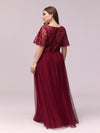 Plus Size Women'S Embroidery Evening Dresses With Short Sleeve-Burgundy 2