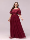 Plus Size Women'S Embroidery Evening Dresses With Short Sleeve-Burgundy 3