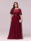 Plus Size Women'S Embroidery Evening Dresses With Short Sleeve-Burgundy 4