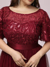 Plus Size Women'S Embroidery Evening Dresses With Short Sleeve-Burgundy 5