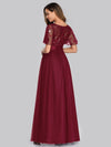 Women'S A-Line Short Sleeve Embroidery Floor Length Evening Dresses-Burgundy 5