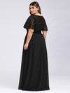 Plus Size Women'S Embroidery Evening Dresses With Short Sleeve-Black 2