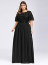 Plus Size Women'S Embroidery Evening Dresses With Short Sleeve-Black 4