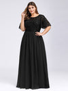 Plus Size Women'S Embroidery Evening Dresses With Short Sleeve-Black 1