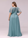 Women'S A-Line Short Sleeve Embroidery Floor Length Evening Dresses-Dusty Blue 6