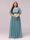 Plus Size Women'S Embroidery Evening Dresses With Short Sleeve-Dusty Blue 4