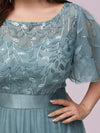Plus Size Women'S Embroidery Evening Dresses With Short Sleeve-Dusty Blue 5