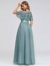 Women'S A-Line Short Sleeve Embroidery Floor Length Evening Dresses-Dusty Blue 2