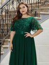 Plus Size Women'S Embroidery Evening Dresses With Short Sleeve-Dark Green 5
