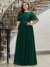 Plus Size Women'S Embroidery Evening Dresses With Short Sleeve-Dark Green 1