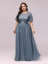 Women'S A-Line Short Sleeve Embroidery Floor Length Evening Dresses-Dusty Navy 7