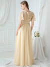 Women'S A-Line Short Sleeve Embroidery Floor Length Evening Dresses-Gold 13