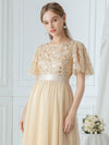 Women'S A-Line Short Sleeve Embroidery Floor Length Evening Dresses-Gold 16