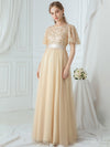 Women'S A-Line Short Sleeve Embroidery Floor Length Evening Dresses-Gold 12