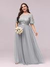 Plus Size Women'S Embroidery Evening Dresses With Short Sleeve-Grey 1