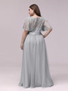 Women'S A-Line Short Sleeve Embroidery Floor Length Evening Dresses-Grey 8
