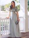 Women'S A-Line Short Sleeve Embroidery Floor Length Evening Dresses-Grey 1