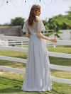 Women'S A-Line Short Sleeve Embroidery Floor Length Evening Dresses-Grey 4