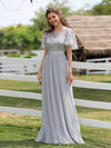 Women'S A-Line Short Sleeve Embroidery Floor Length Evening Dresses-Grey 3