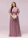 Plus Size Women'S Embroidery Evening Dresses With Short Sleeve-Purple Orchid 3