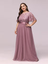 Plus Size Women'S Embroidery Evening Dresses With Short Sleeve-Purple Orchid 4