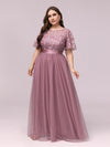 Women'S A-Line Short Sleeve Embroidery Floor Length Evening Dresses-Purple Orchid 4