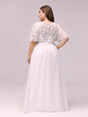 Plus Size Women'S Embroidery Evening Dresses With Short Sleeve-White 2