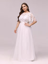 Plus Size Women'S Embroidery Evening Dresses With Short Sleeve-White 3