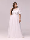 Plus Size Women'S Embroidery Evening Dresses With Short Sleeve-White 4