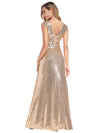 Women'S Double V-Neck Wrap Sequin Dress Bodycon Evening Dress-Rose Gold 2