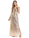Women'S Double V-Neck Wrap Sequin Dress Bodycon Evening Dress-Rose Gold 4