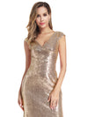 Women'S Double V-Neck Wrap Sequin Dress Bodycon Evening Dress-Rose Gold 5