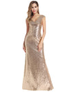 Women'S Double V-Neck Wrap Sequin Dress Bodycon Evening Dress-Rose Gold 1