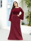 Casaul Bodycon Plus Size Evening Dress with Flare Sleeves-Burgundy 1