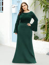 Casaul Bodycon Plus Size Evening Dress with Flare Sleeves-Dark Green 4