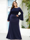 Casaul Bodycon Plus Size Evening Dress with Flare Sleeves-Navy Blue 4
