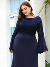 Casaul Bodycon Plus Size Evening Dress with Flare Sleeves-Navy Blue 5