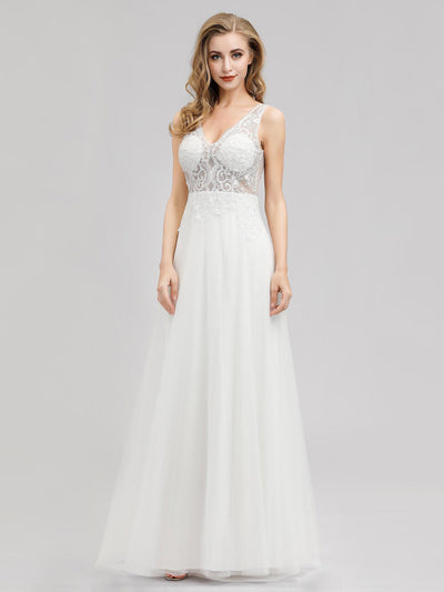 V Neck Minimalist Tulle Wedding Dress