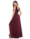 Sexy V Neck High Slit Sequin Dress-Burgundy 3