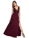 Sexy V Neck High Slit Sequin Dress-Burgundy 2