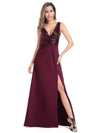 Sexy V Neck High Slit Sequin Dress-Burgundy 4