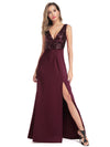 Sexy V Neck High Slit Sequin Dress-Burgundy 1