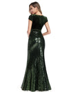 V Neck Floor Length Sequin Party Dress-Dark Green 2