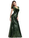V Neck Floor Length Sequin Party Dress-Dark Green 3