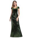 V Neck Floor Length Sequin Party Dress-Dark Green 4