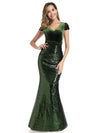 V Neck Floor Length Sequin Party Dress-Dark Green 1