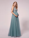 Women's A-Line V-Neck Floral Lace Appliques Maternity Dresses-Dusty Blue 3