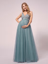 Women's A-Line V-Neck Floral Lace Appliques Maternity Dresses-Dusty Blue 5